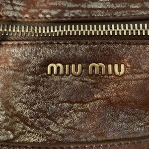 Authentic Bronze Metallic Leather Satchel Miu Miu